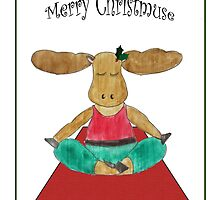 Merry Christmuse - Moose Practicing Yoga  by CarynsCorner