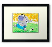 Football Player - Rondy the Elephant playing soccer Framed Print