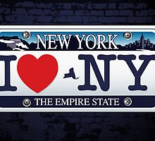 I Heart NY Car Plate Prints / iPhone Case/ T-Shirt / iPad Case / Samsung Galaxy Cases  by CroDesign