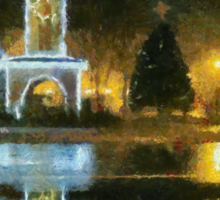 Town Square on December Night Sticker