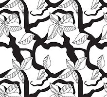 Leaves and twigs pattern in black and white by CClaesonDesign