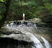 Man On The Waterfalls by Geno Rugh