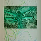 Printmaking: Dragonfly Verde Melody by Marion Chapman