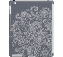 Jacobean-Inspired Light on Dark Grey Floral Doodle iPad Case/Skin