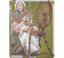Old Irish Woman Sitting At A Spinning Wheel iPad Case/Skin
