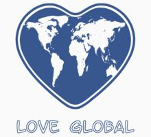 Love Global T-Shirt Emblem Blue by Martin Rosenberger