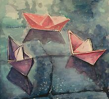 Boats on the wet sett by VicFreyd