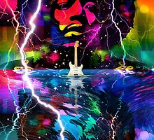 Jimi Hendrix Electric Guitar God by Mal Bray