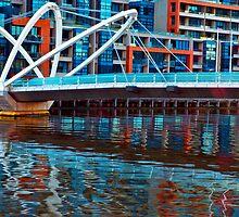 Seafarers Bridge Reflected Melbourne Australia by PhotoJoJo