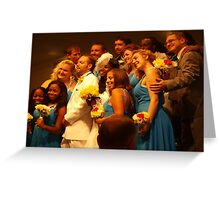 Exuberant wedding party Greeting Card