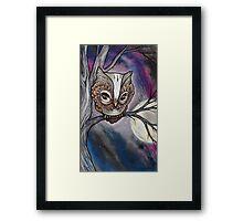 shy night owl painting. Framed Print
