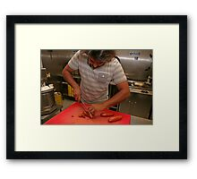 Omar Allibhoy chops chorizo sausages Framed Print
