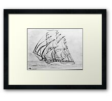 Graphite  Pencil Sketch of a Clipper Ship at Top Speed Framed Print