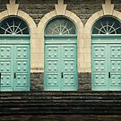 Three Blue Doors by Caroline Fournier