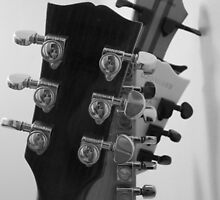 Guitar Heads Black & White by Martha Medford