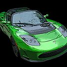 Tesla Roadster in Green by Samuel Sheats