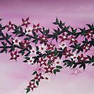 Watercolour acrylic birds with cherry blossom sakura 2 by cathyjacobs