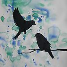 Watercolour acrylic green birds with cherry blossom sakura  by cathyjacobs