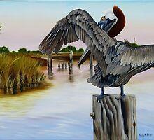 Gar Lake Pelican 2 by Phyllis Beiser