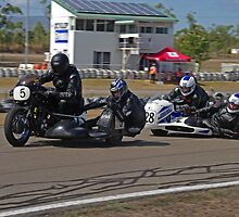 Classic SideCars - Triumph leads the Honda by Paul Gilbert