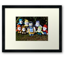 Hand Knitted Snow White and her seven dwarfs Framed Print