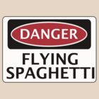 DANGER FLYING SPAGHETTI, FUNNY FAKE SAFETY SIGN by DangerSigns