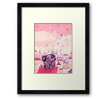 Music Lover - Rondy the Elephant listening to music on the roof Framed Print