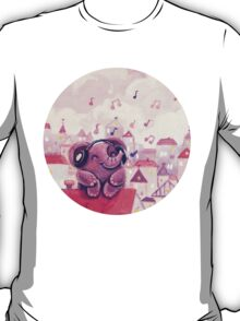 Music Lover - Rondy the Elephant listening to music on the roof T-Shirt