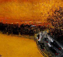 golden sky and freeway by glennbrady