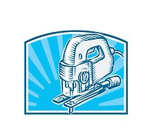 Jigsaw Power Tool Woodcut Retro by patrimonio