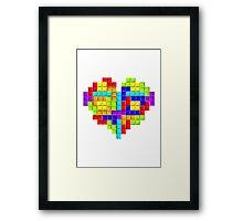 Tetris Block Heart Framed Print