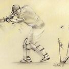 Stuart Broad - original pastel drawing  by Paulette Farrell