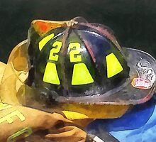 Fireman's Helmet on Uniform by Susan Savad