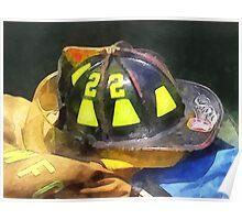 Fireman's Helmet on Uniform Poster