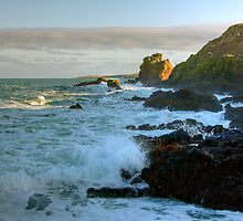 Afternoon Sun on the sea at St Abbs by Christine Smith