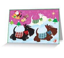 We Three Scottie Dogs Greeting Card