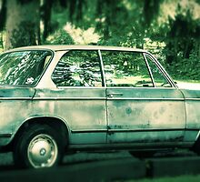 Vintage Blue BMW rustic antique car photography by jemvistaprint