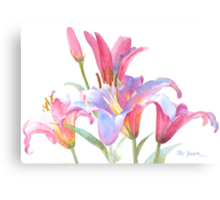 Watercolor Lilies Canvas Print