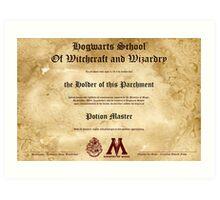 Official Hogwarts Diploma Poster - Potions Art Print