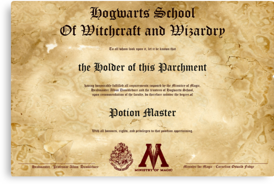 Official Hogwarts Diploma Poster - Potions by eaaasytiger