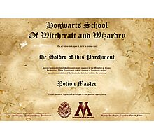 Official Hogwarts Diploma Poster - Potions Photographic Print