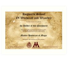 Official Hogwarts Diploma Poster - History of Magic Art Print