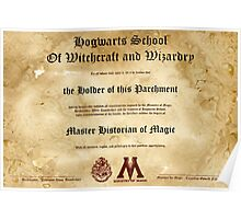 Official Hogwarts Diploma Poster - History of Magic Poster