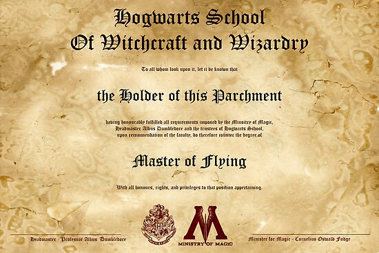 Official Hogwarts Diploma Poster - Flying by eaaasytiger