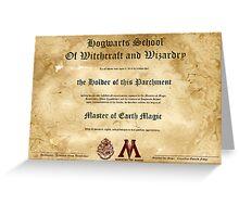 Official Hogwarts Diploma Poster - Earth Magic Greeting Card