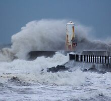 Ayr Harbour Pier Storm 2011 by AyrshireImages