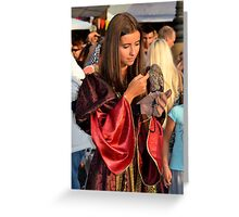 Renaissance Dressed Beauty and the Cute Little Beast Greeting Card