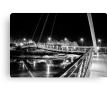 Millennium Bridge, Lancaster, Black And White Canvas Print