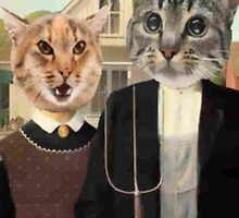 American Gothic Cats Poster by rpridz