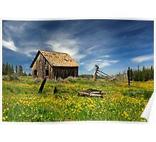 Cabin In A Field Of Flowers Poster